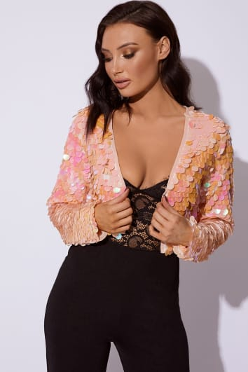 KARREY PINK SEQUIN CROPPED JACKET