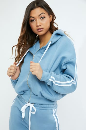 SARAH ASHCROFT DUSTY BLUE OVERSIZED CONTRAST STRIPE HOODIE