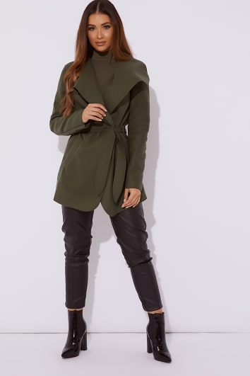 ORLY KHAKI SHORT WATERFALL JACKET