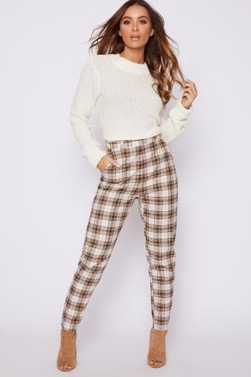 KARI NUDE CHECK CIGARETTE TROUSERS