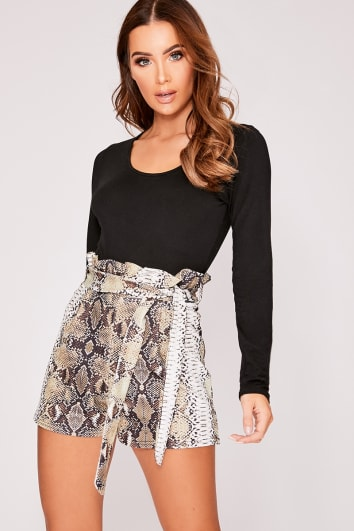 ORLY GREEN SNAKE PRINT PAPERBAG TIE WAIST SHORTS