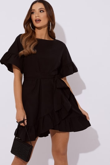 ALETHEA BLACK COTTON POPLIN FRILL TIE WAIST MINI DRESS