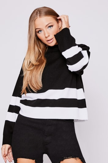 BILLIE FAIERS BLACK AND WHITE STRIPE JUMPER