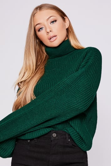 BILLIE FAIERS GREEN BALLOON SLEEVE ELONGATED CUFF JUMPER
