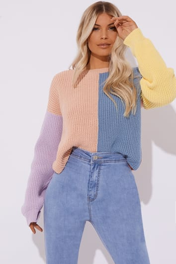 3f6cafa265a Bonnita Pastel Colour Block Crew Neck Jumper