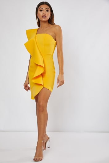JORGINA YELLOW ONE SHOULDER FRILL MINI DRESS