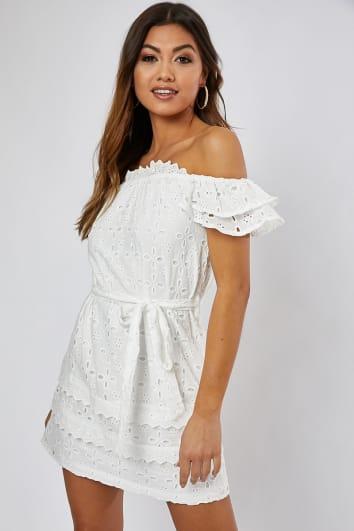 BABETTE WHITE BRODERIE SELF BELT BARDOT DRESS