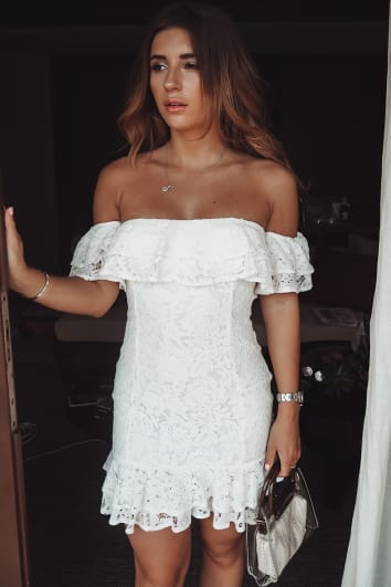 DANI DYER WHITE LACE BARDOT MINI DRESS
