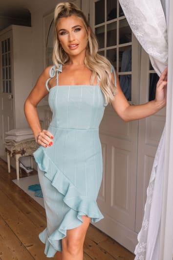 BILLIE FAIERS SAGE GREEN BANDAGE ASYMMETRIC FRILL MIDI DRESS