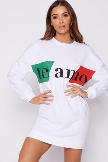 TE AMO WHITE STRIPED SWEATER DRESS