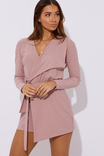 57a54539888 FRANKLYN BLUSH PLUNGE WRAP OVER PLAYSUIT