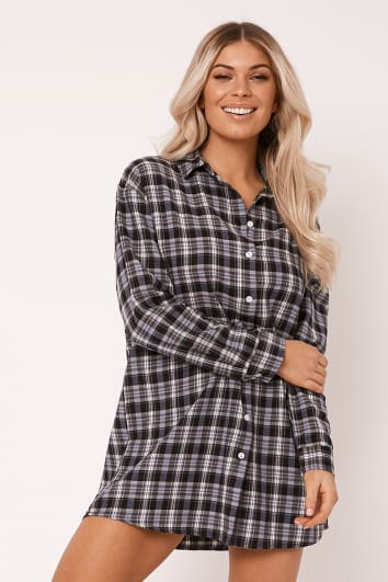 ALVENA NAVY CHECKED SHIRT DRESS