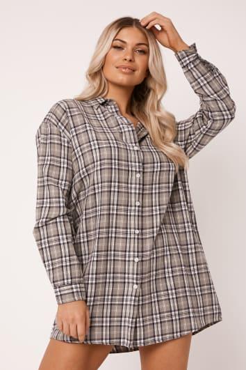 ALVENA GREY CHECKED SHIRT DRESS