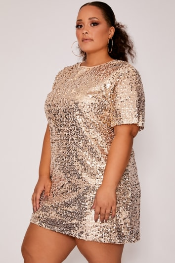 e90ccd1a6402 CURVE MADELINE GOLD SEQUIN T SHIRT DRESS