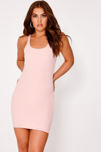 BASIC NUDE SCUBA SCOOP NECK BODYCON DRESS
