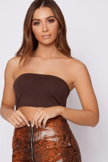 BASIC BROWN SLINKY BANDEAU CROP TOP