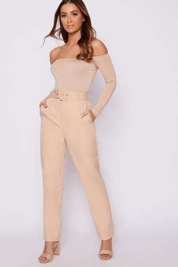 BASIC NUDE LONG SLEEVE BARDOT BODYSUIT