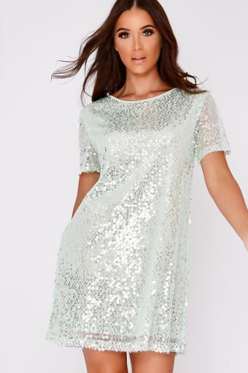 MADELINE MINT SEQUIN T SHIRT DRESS