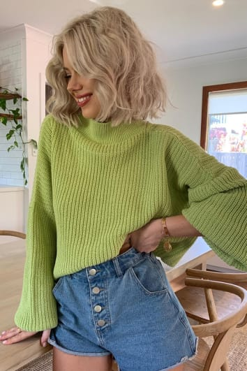LAURA JADE LIGHT LIME CROPPED BALLOON SLEEVE JUMPER