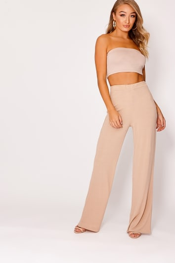 KIYAH CAMEL RIBBED WIDE LEG TROUSERS