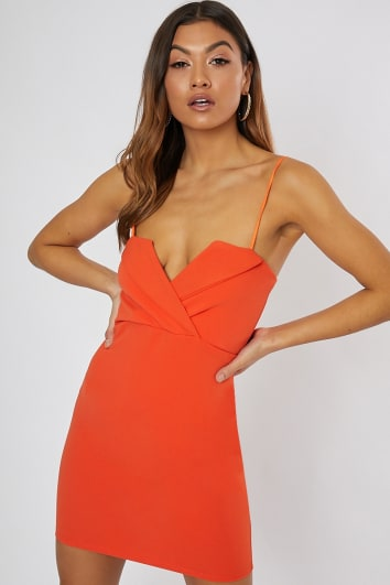 HELPA ORANGE CAMI WRAP FRONT DETAIL MINI DRESS