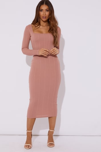 RAFFERTY BLUSH BANDAGE SQUARE NECK MIDAXI DRESS