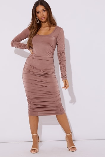 JULES NUDE SLINKY SQUARE NECK MIDI DRESS