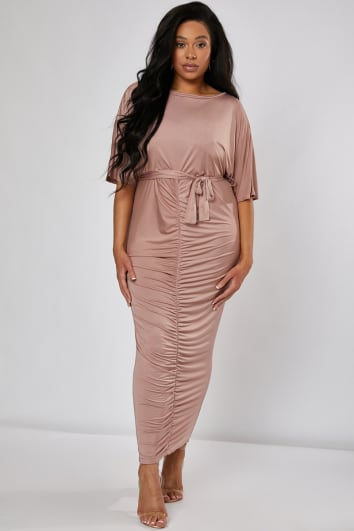 CURVE KAIA BLUSH SLINKY RUCHED BELTED MAXI DRESS
