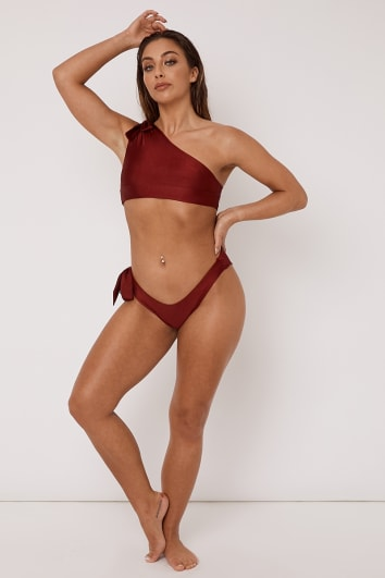 DEVON OX BLOOD TIE SIDE HIGH LEG BIKINI BOTTOMS