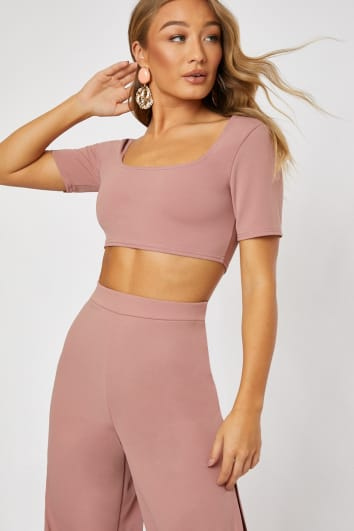 02f2ede9417e LASTIN BLUSH SQUARE NECK CROP TOP