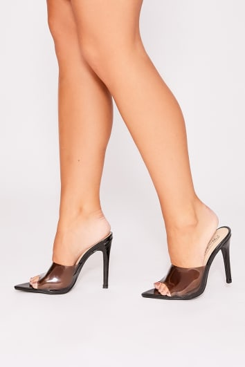 OTTA BLACK CLEAR STILETTO MULES