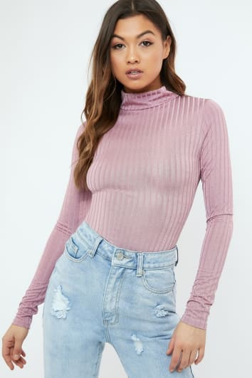KEREENA PURPLE SLINKY RIBBED HIGH NECK BODYSUIT
