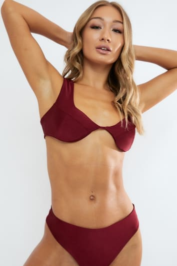 EMERY OX BLOOD SCOOPED CUP BIKINI TOP