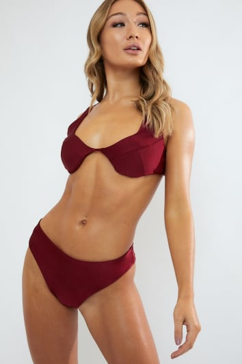 EMERY OX BLOOD HIGH LEG BIKINI BOTTOMS