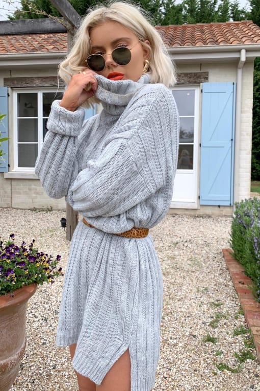 fe66fcba8 LAURA JADE GREY OVERSIZED CHUNKY KNITTED JUMPER DRESS WITH SIDE SPLITS
