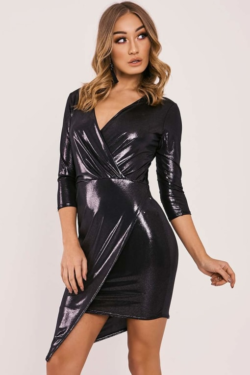 CARY BLACK METALLIC ASYMMETRIC WRAP DRESS
