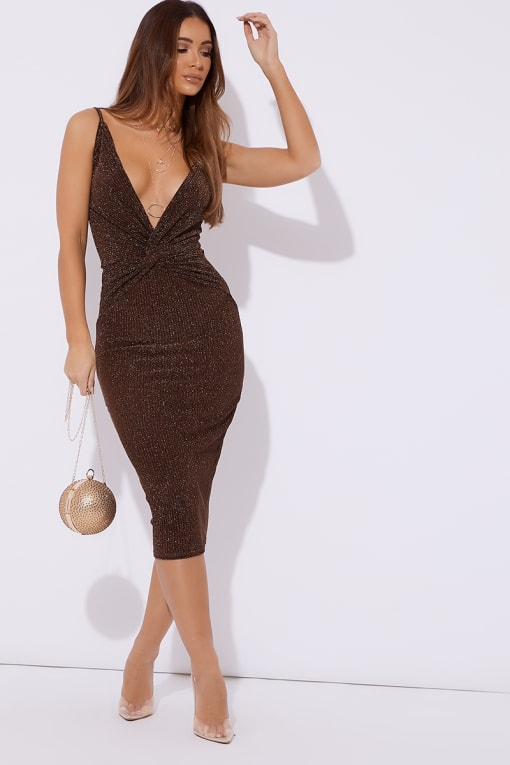 ADISYN COPPER GLITTER PLUNGE TWIST FRONT MIDI DRESS