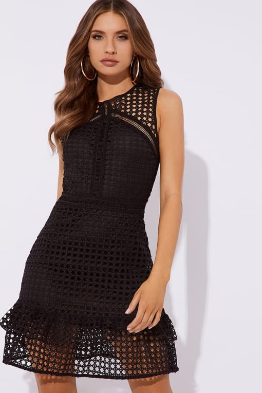 FLORENCIO BLACK CROCHET LACE SKATER DRESS