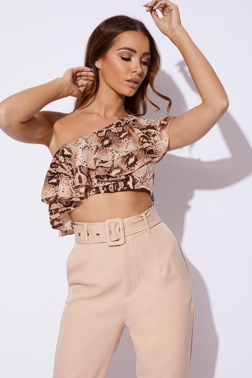 5c22443aff5 BILLIE FAIERS NUDE SNAKE PRINT ONE SHOULDER FRILL CROP TOP