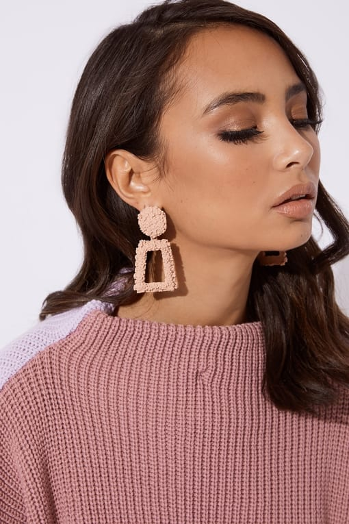 BLUSH SQUARE DROP EARRINGS