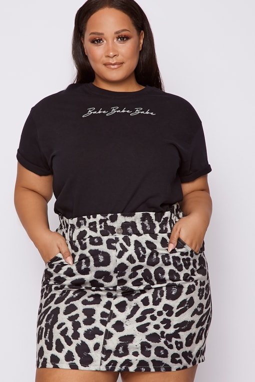 CURVE DANI DYER GREY LEOPARD PRINT PAPERBAG DENIM MINI SKIRT