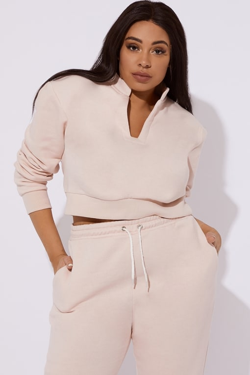 CURVE OLIVEEA PINK FLEECE BACK OPEN NECK DETAIL SWEATER