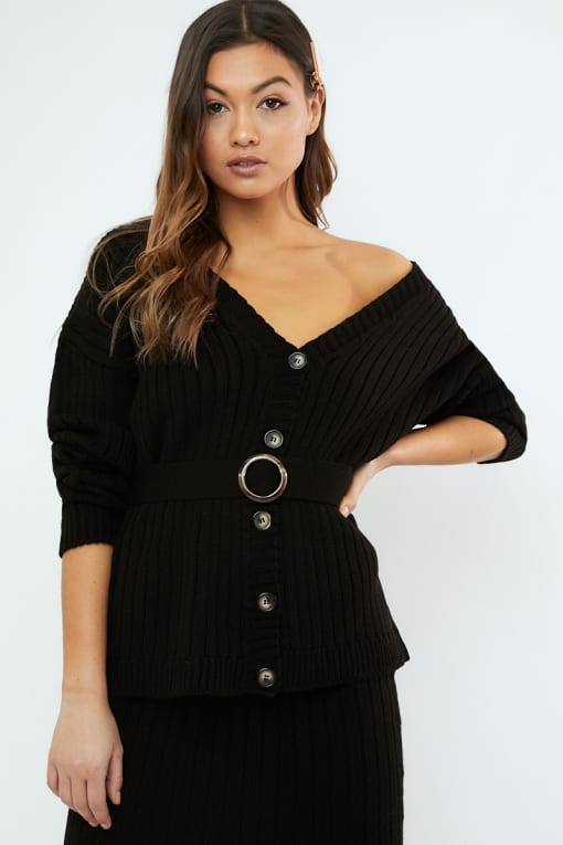 LORNA LUXE 'NO REGRETS' RIBBED BELTED BLACK CARDIGAN