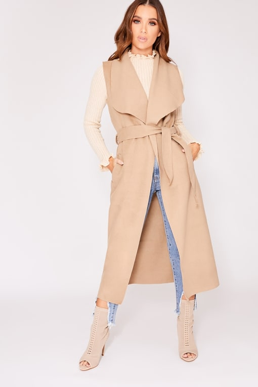 OLAYA CAMEL SLEEVELESS WATERFALL JACKET