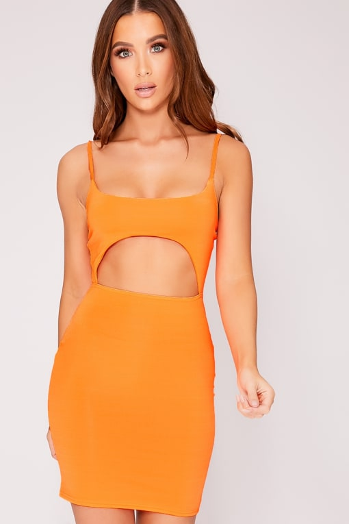 KIMMIEY NEON ORANGE SLINKY CUT OUT DRESS