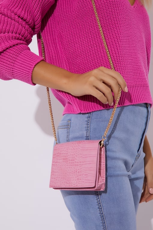PINK FAUX CROC CHAIN BAG