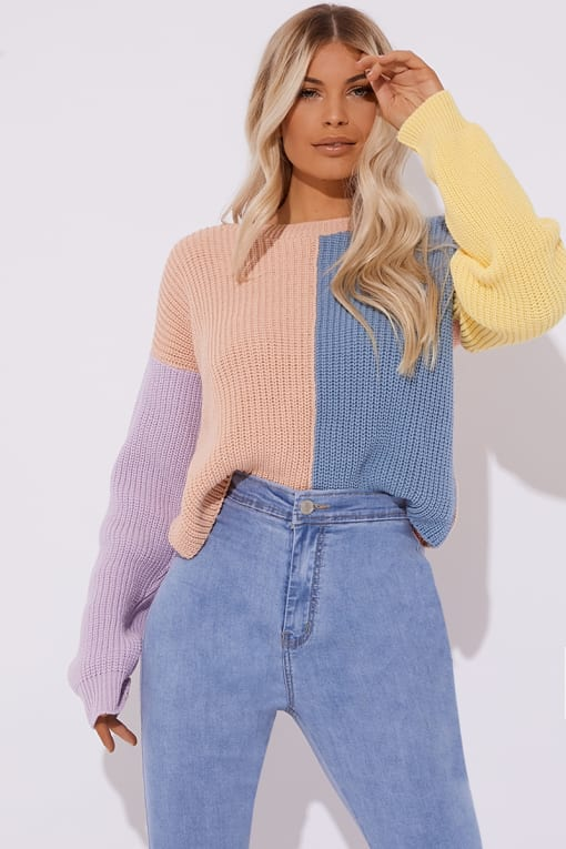 BONNITA PASTEL COLOUR BLOCK CREW NECK JUMPER