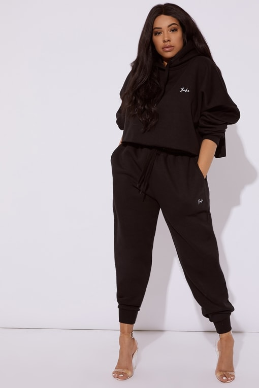 CURVE DANI DYER BABE BLACK EMBROIDERED JOGGERS