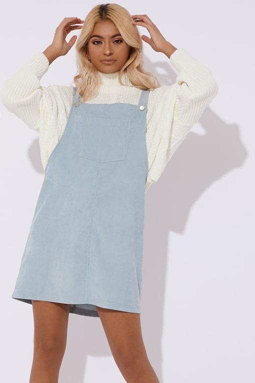 BECKY MINT CORD PINAFORE DRESS