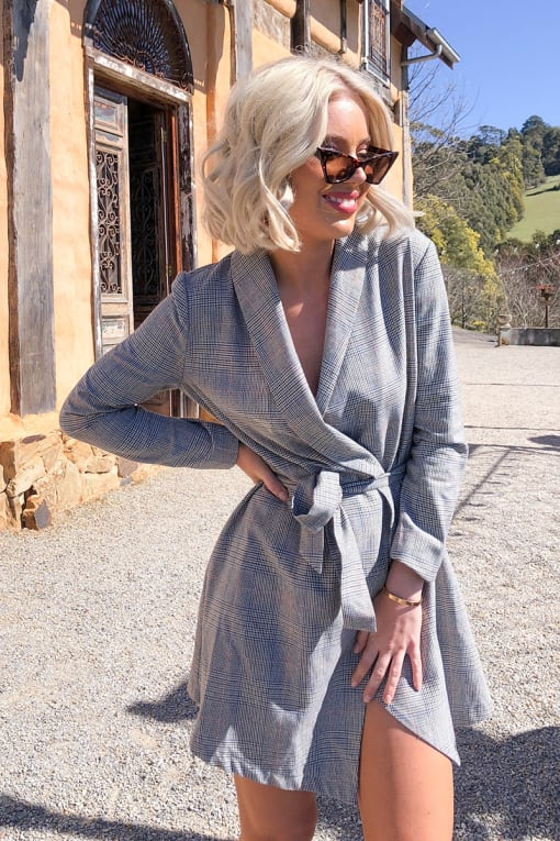 LAURA JADE GREY CHECK WRAP BLAZER DRESS